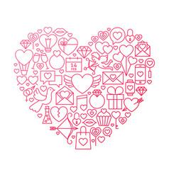 Valentine day line icon heart design vector