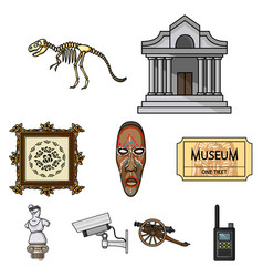 museum set icons in cartoon style big collection vector image
