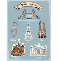 World landmarks hand-drawn icons set vector