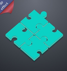 Puzzle piece icon symbol 3d style trendy modern vector