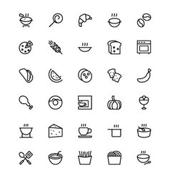 Food and drinks line icons 13 vector
