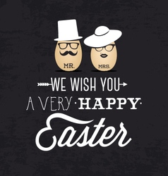 Mr and mrs easter greeting card in vintage style vector