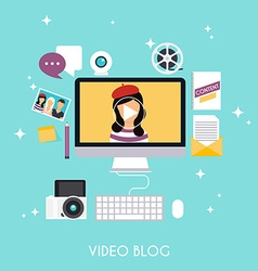 Video blogging concept template blogging vector
