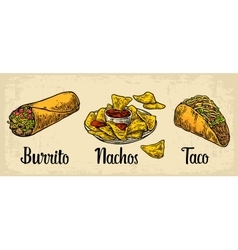 Mexican traditional food set with text message vector