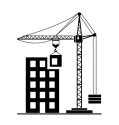 Building construction with crane vector