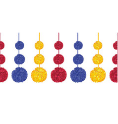 Acolorful birthday party paper pom poms set vector