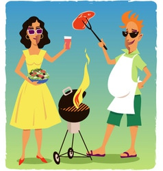 Barbecuing couple vector image vector image