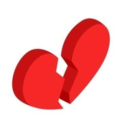 Broken heart icon isometric 3d style vector