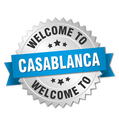 Casablanca 3d silver badge with blue ribbon vector