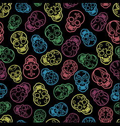 colorful mexican skulls seamless pattern vector image vector image