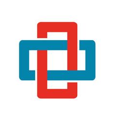 Cross chain box abstract symbol vector