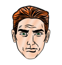 Face man pop art style image vector