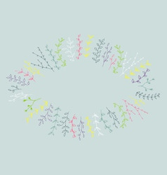 Hand-drawn branches frame background vector image vector image