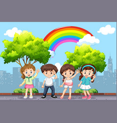 Happy children in the park with rainbow in sky vector