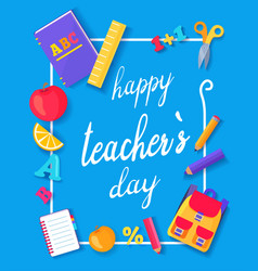 happy teachers day promo blue vector image vector image
