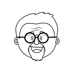 line old man face with hairstyle vector image