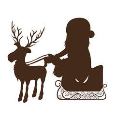 Monochrome silhouette of reindeer with santa claus vector