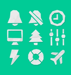 Paper Cut Icons Applications Set 6 vector image