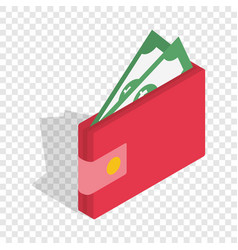 purse with money isometric icon vector image vector image