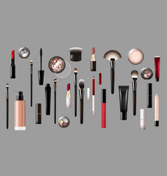 realistic makeup products collection vector image vector image