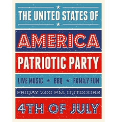retro style american independence day flyer design vector image