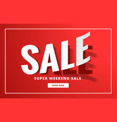 Sale poster backgorund in red with sticker style vector