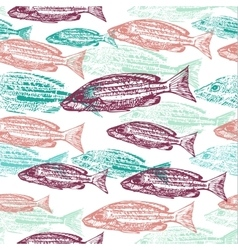 seamless pattern with print of fish on vector image vector image