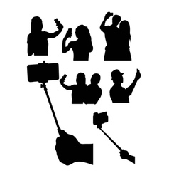 Selfie Silhouettes vector image vector image