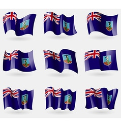 Set of montserrat flags in the air vector