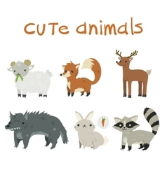 Sheep fox deer wolf rabbit and raccoon mascot vector image