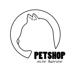 Silhouette kitti pet shop sign vector