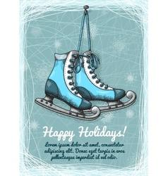 Skate holidays winter invitation vector image vector image