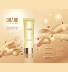 Skin toner contained in tube on golden background vector