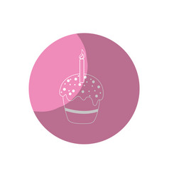 Sticker delicious cupcake with candle to happy vector