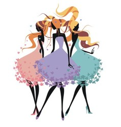 Three silhouette girls with tangled hair vector image