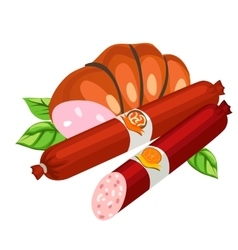 Two types of delicious sausage food vector image vector image