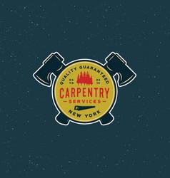 Vintage carpentry logo retro styled wood works vector