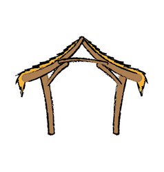 Wooden hut house manger design image vector