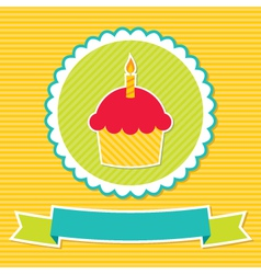 Birthday cupcake card vector