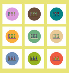 Flat icons set of business statistics concept on vector