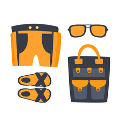 slippers shorts sun glasses and bag in orange vector image