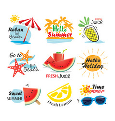 Summer label banner tag and elements background vector