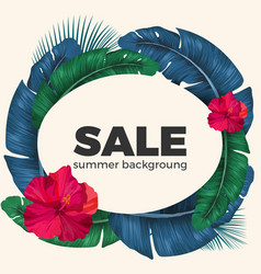 Summer sale poster with palm leaves circle and vector