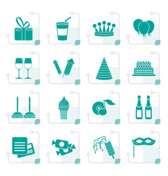 Stylized birthday and party icons vector