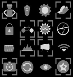 Photography icons on black background vector