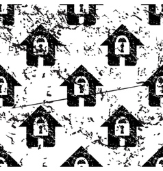 Locked house pattern grunge monochrome vector