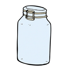 Comic cartoon glass jar vector