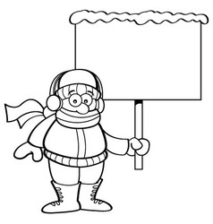 Cartoon boy in winter clothing holding a sign vector