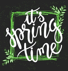 Hand drawn spring lettering quote squared green vector