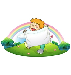 A boy holding a white banner vector image vector image
